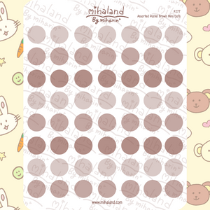 Assorted Pastel Brown Mini Dots Planner Stickers (F277)