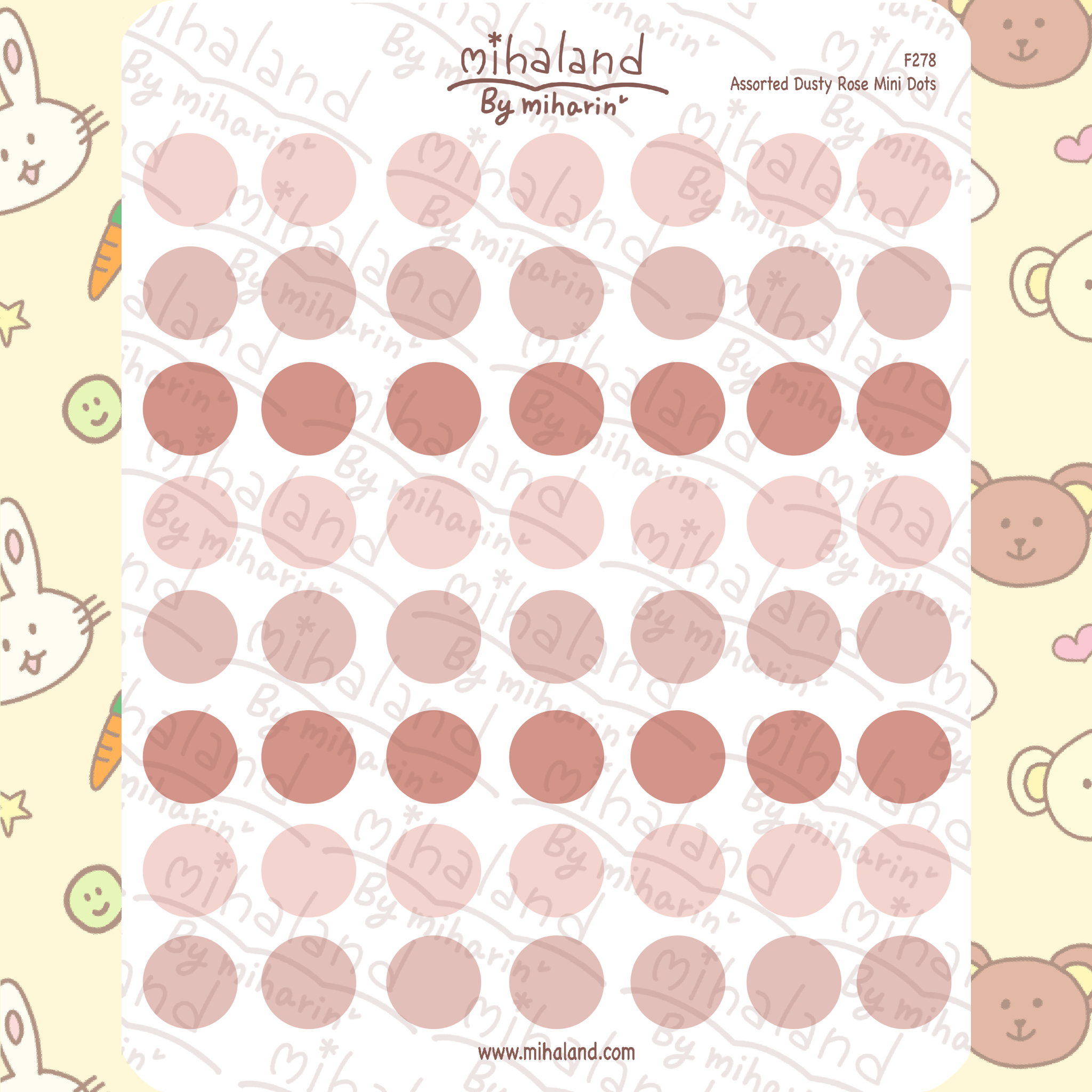 Assorted Dusty Rose Mini Dots Planner Stickers (F278)
