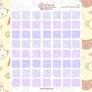 Assorted Pastel Purple Mini Squares Planner Stickers (F284)