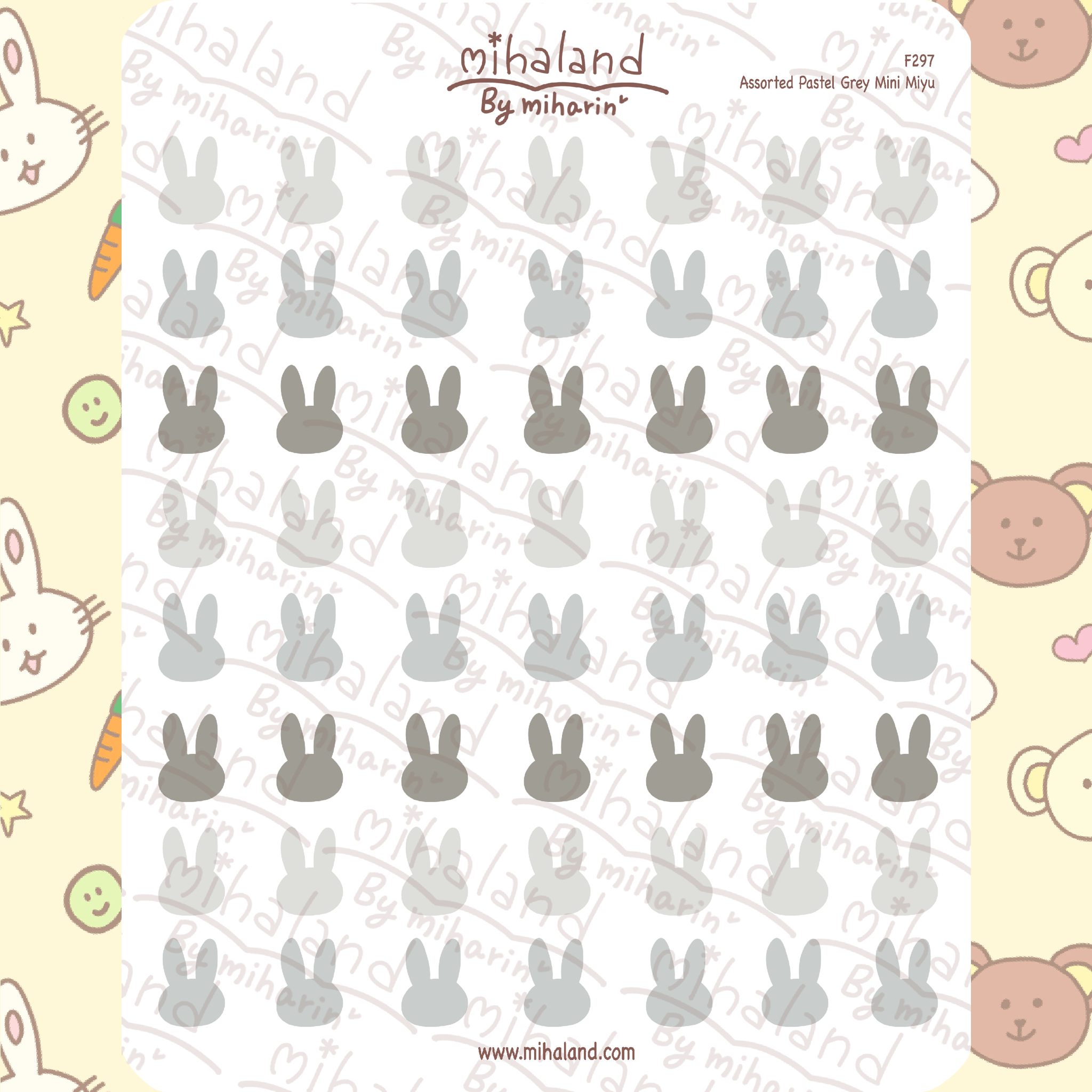 Assorted Pastel Grey Mini Miyu Planner Stickers (F297)