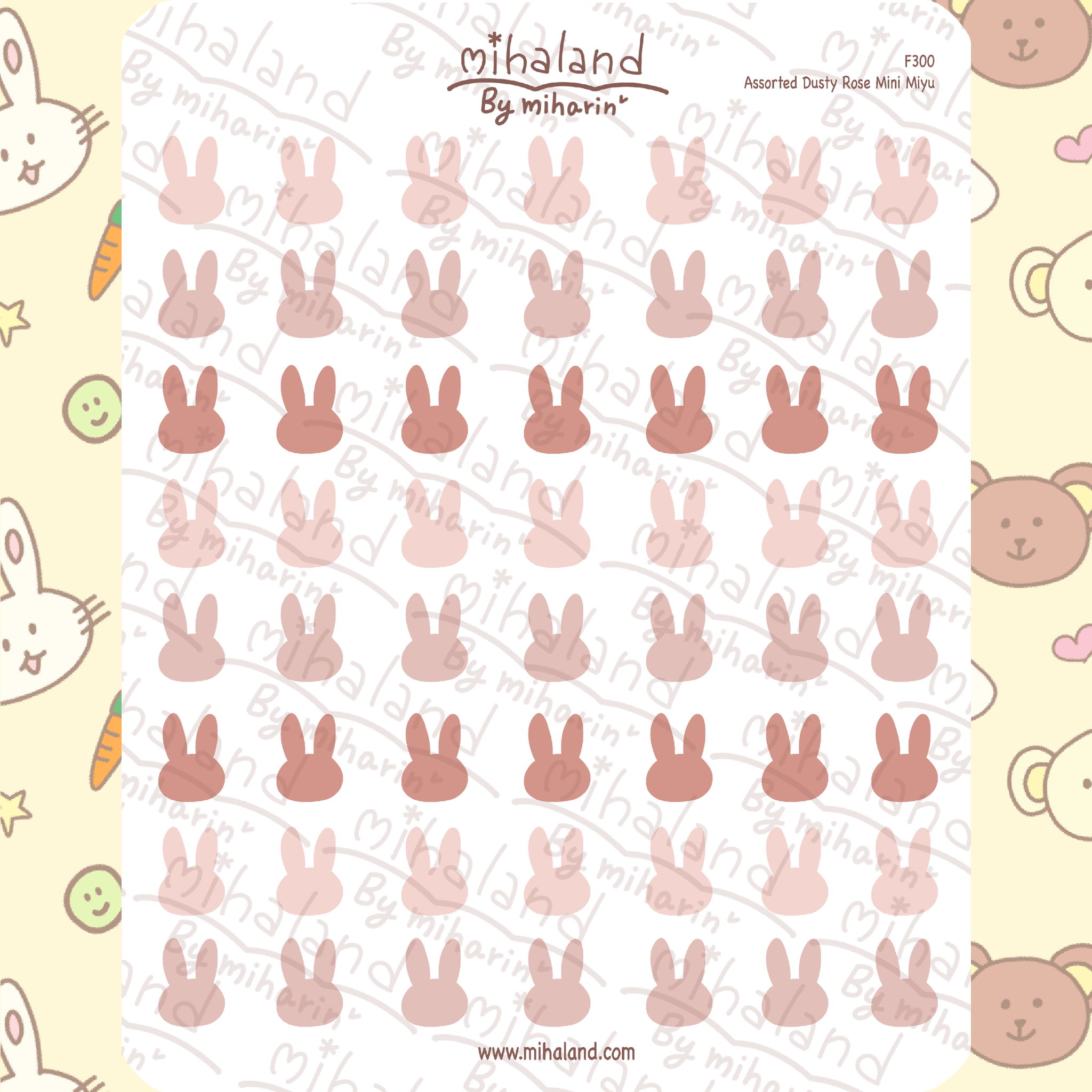 Assorted Dusty Rose Mini Miyu Planner Stickers (F300)
