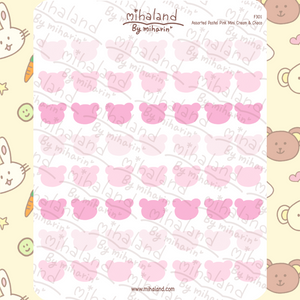 Assorted Pastel Pink Mini Cream & Choco Planner Stickers (F301)