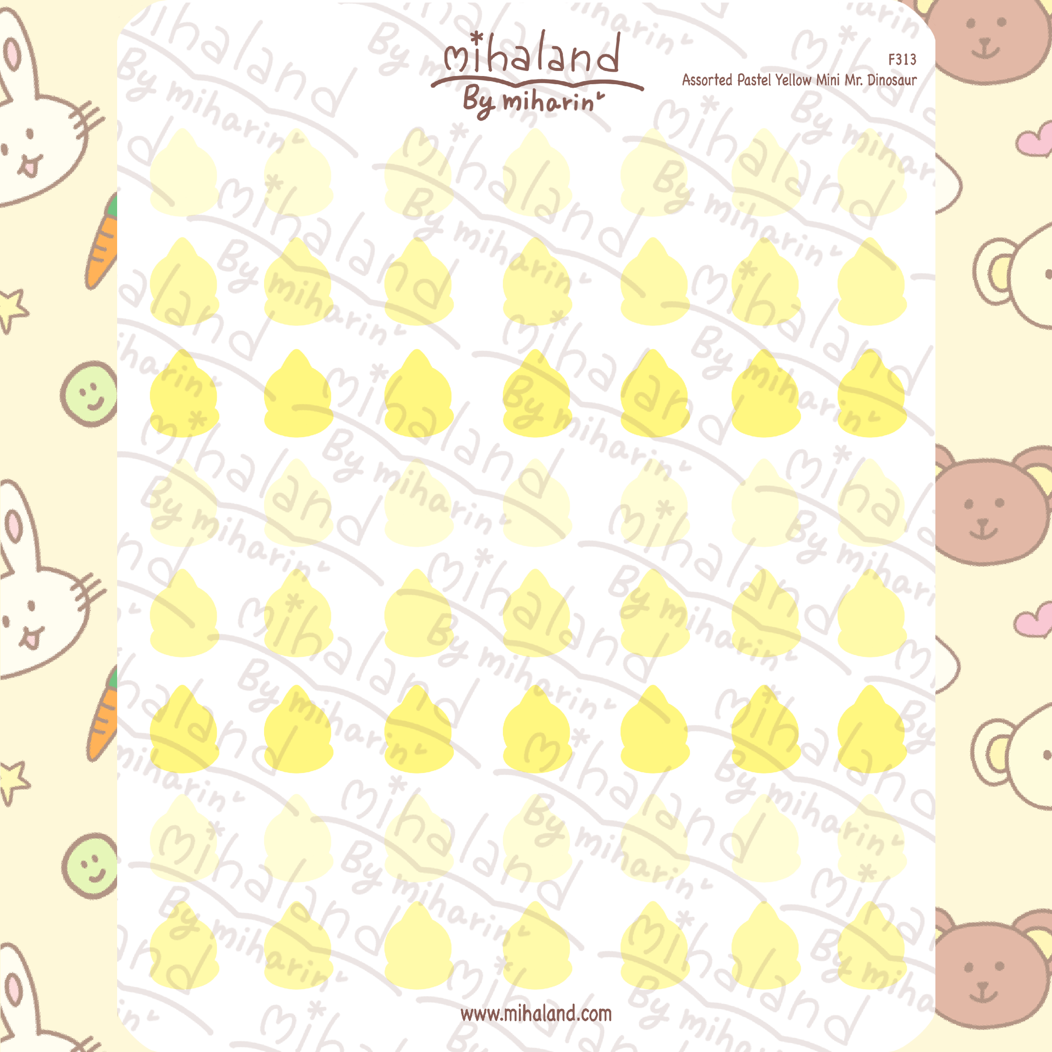 Assorted Pastel Yellow Mini Mr. Dinosaur Planner Stickers (F313)