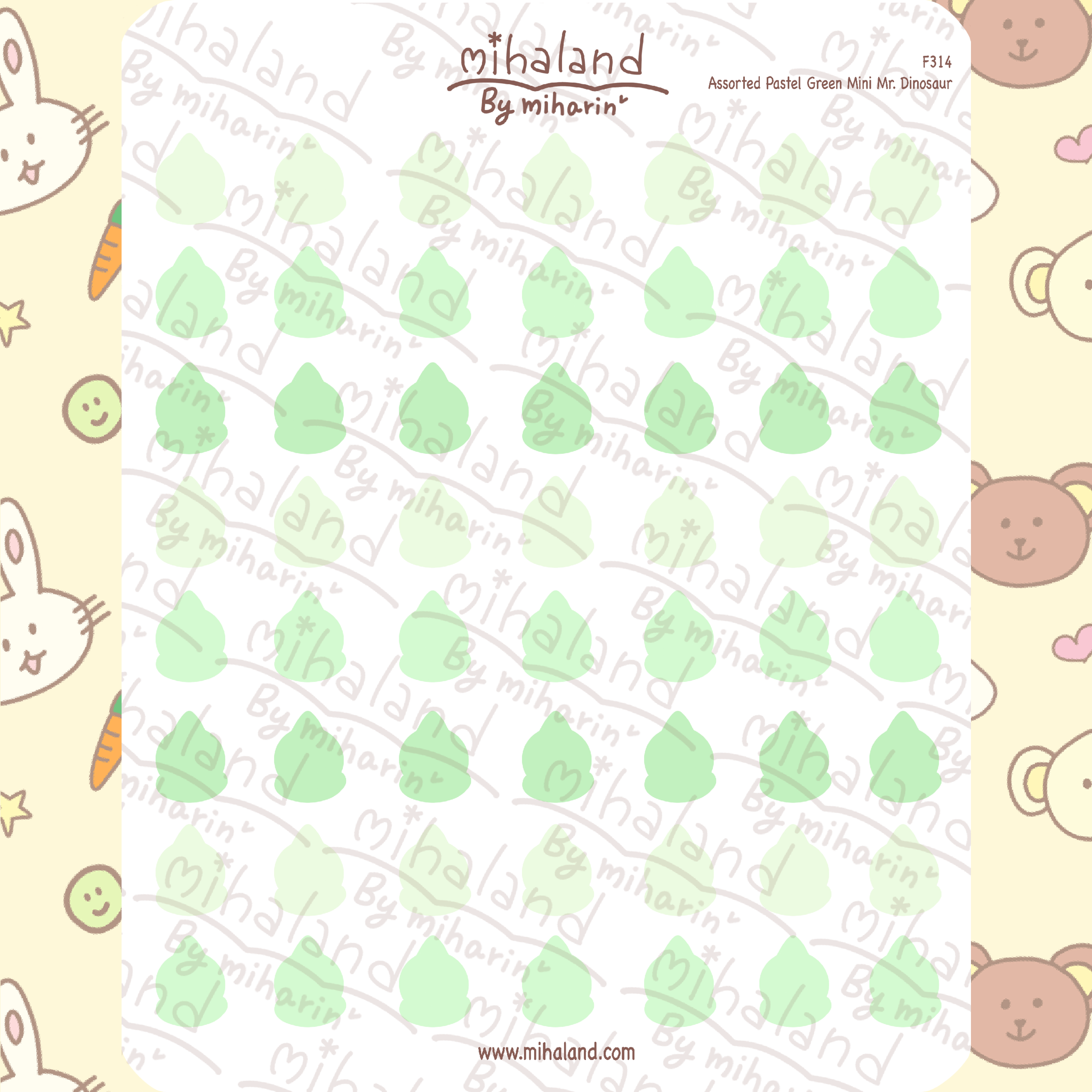 Assorted Pastel Green Mini Mr. Dinosaur Planner Stickers (F314)