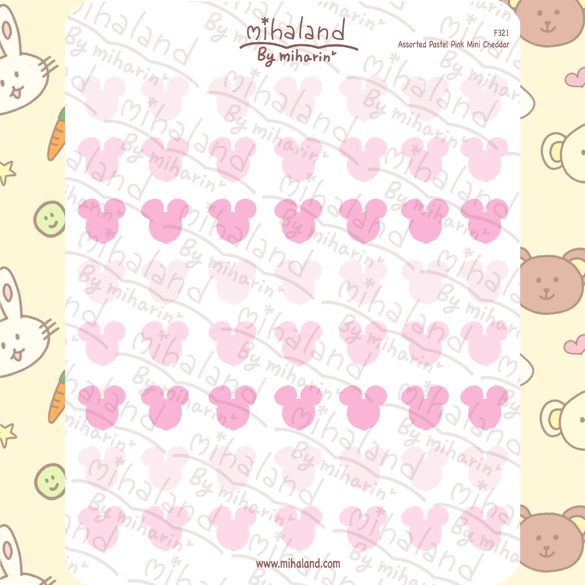 Assorted Pastel Pink Mini Cheddar Planner Stickers (F321)