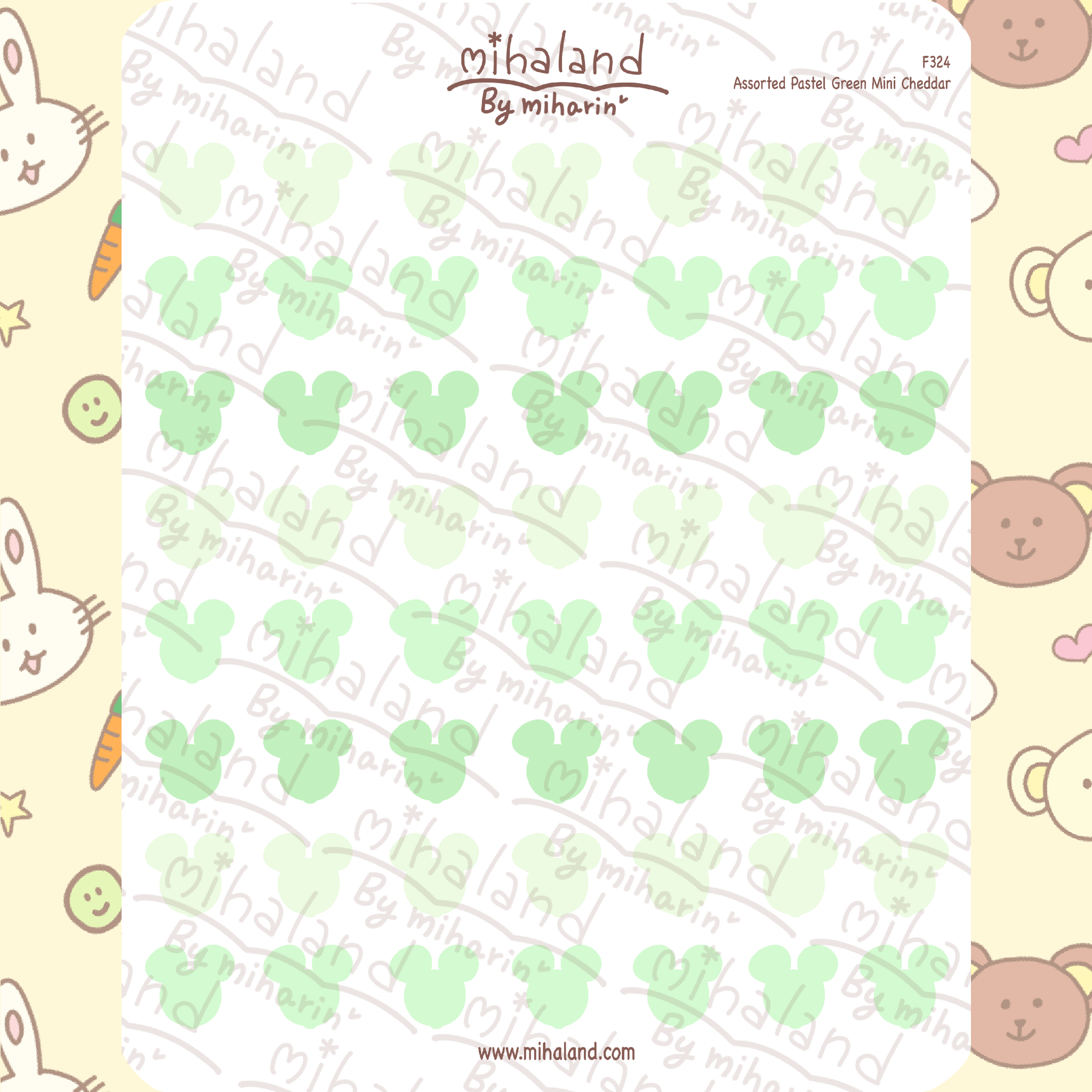 Assorted Pastel Green Mini Cheddar Planner Stickers (F324)