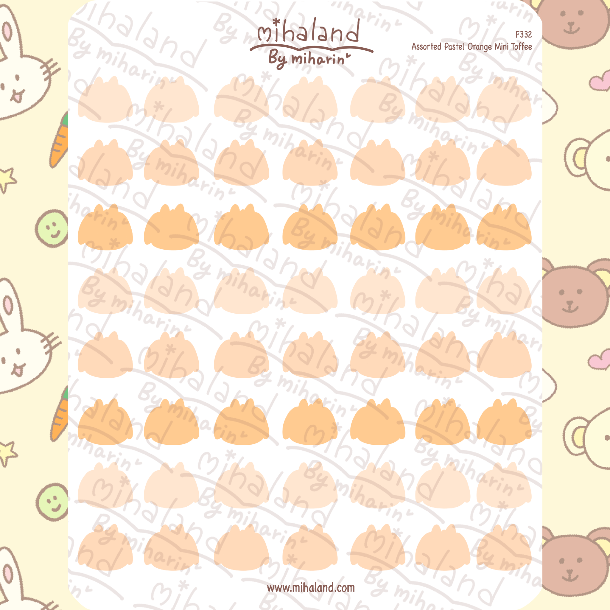 Assorted Pastel Orange Mini Toffee Planner Stickers (F332)
