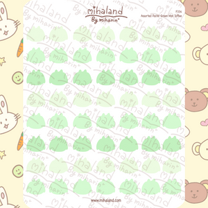 Assorted Pastel Green Mini Toffee Planner Stickers (F334)