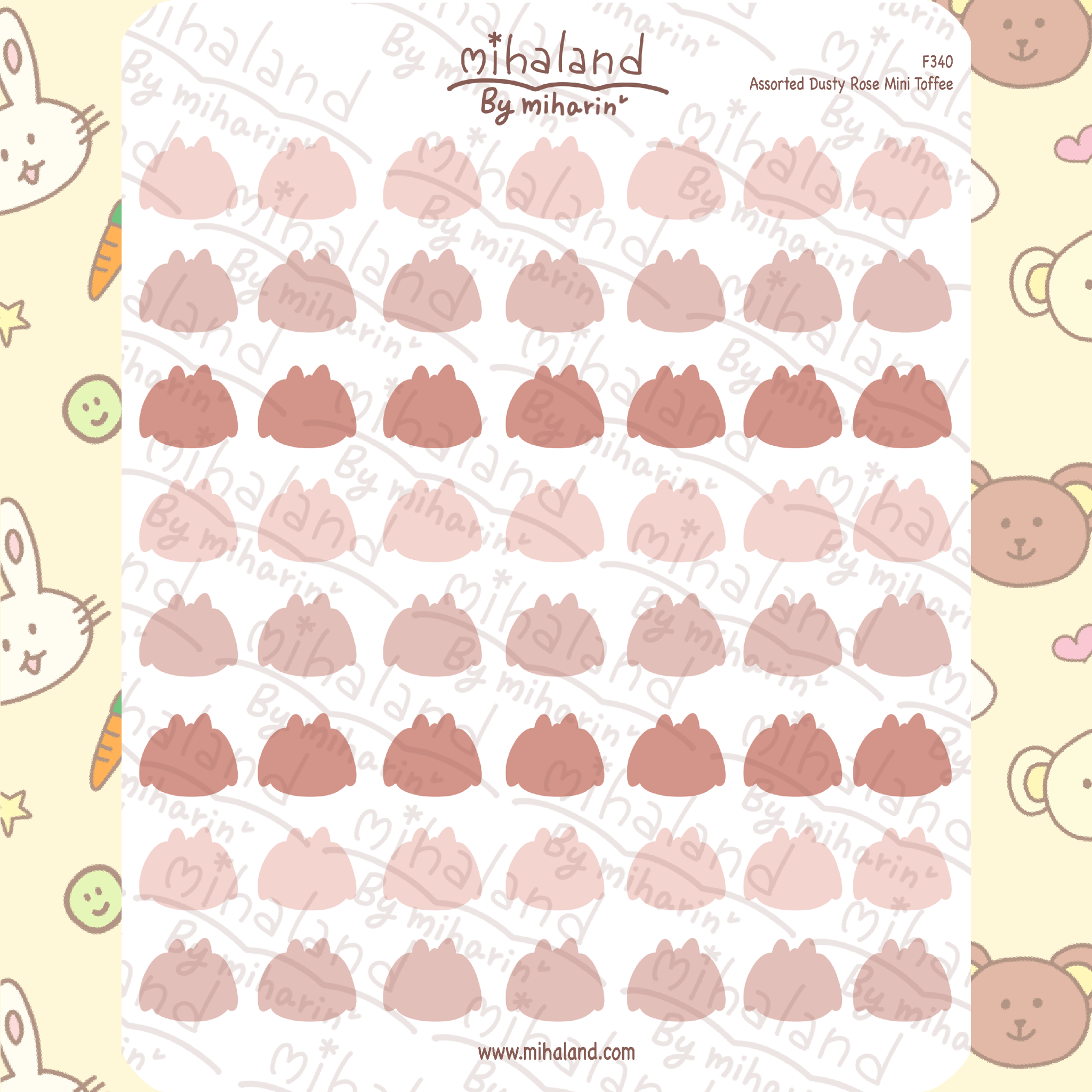 Assorted Dusty Rose Mini Toffee Planner Stickers (F340)