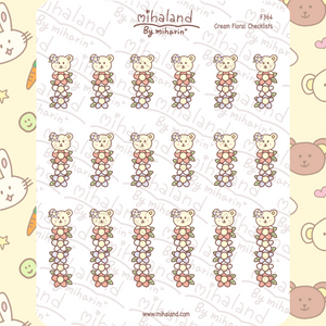 Cream Floral Checklists Planner Stickers (F364)