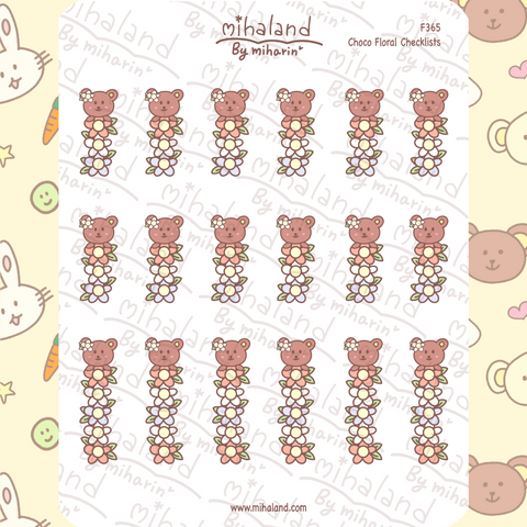 Choco Floral Checklists Planner Stickers (F365)
