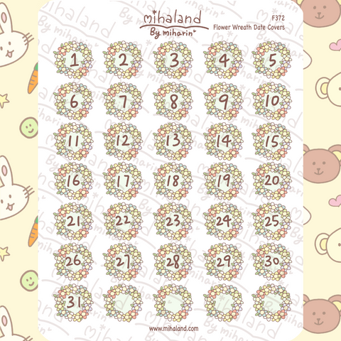 Flower Wreath Date Covers Planner Stickers (F372)