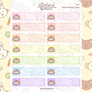 Rainbow Birthday Labels Planner Stickers (F375)