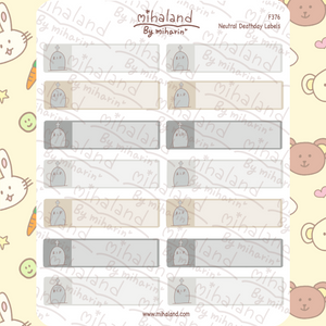 Neutral Deathday Labels Planner Stickers (F376)