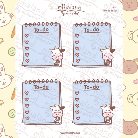 Milky To-do Lists Planner Stickers (F382)