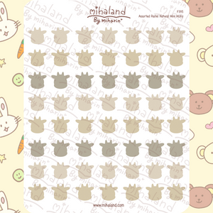 Assorted Pastel Natural Mini Tori Planner Stickers (F395)