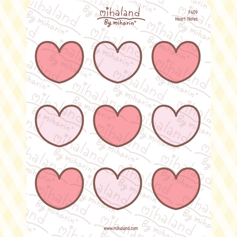Heart Notes Planner Stickers (F409)