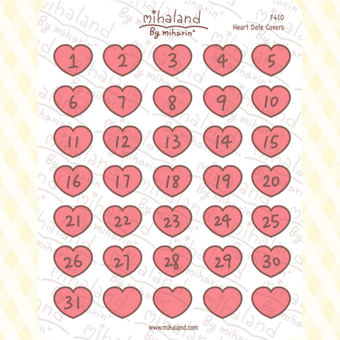 Heart Date Covers Planner Stickers (F410)