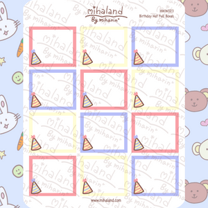 mihaland - Birthday Hat Full Boxes for Hobonichi Weeks Planner Stickers (HWW023)