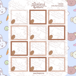 mihaland - Coffee Full Boxes for Hobonichi Weeks Planner Stickers (HWW026)