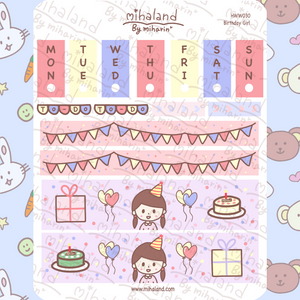 mihaland - Birthday Girl Hobonichi Weeks Kit Planner Stickers (HWW030)