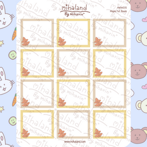 Maple Leaf Full Boxes for Hobonichi Weeks Planner Stickers (HWW035)