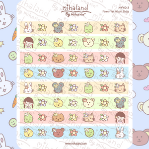 Flower Ver. Washi Strips for Hobonichi Weeks Planner Stickers (HWW043)
