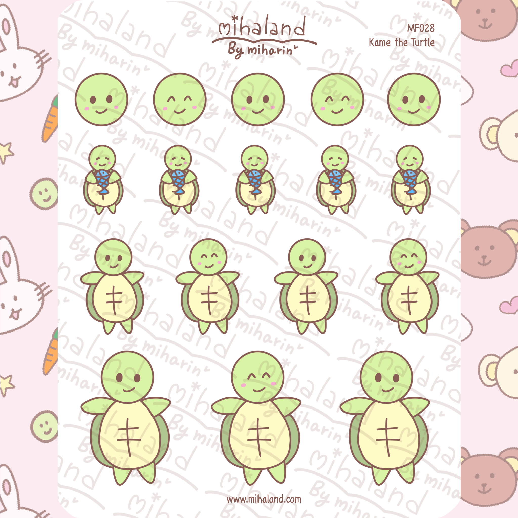 mihaland - Kame the Turtle Planner Stickers (MF028)
