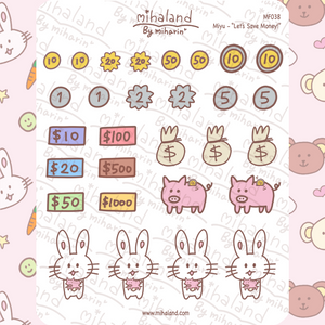 "mihaland - ""Let's Save Money!"" Miyu Planner Stickers (MF038)"