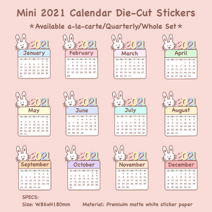 Mini 2021 Calendar Die-Cut Stickers (2021DCS)