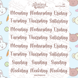 mihaland - Days of the Week Script Planner Stickers (S001)