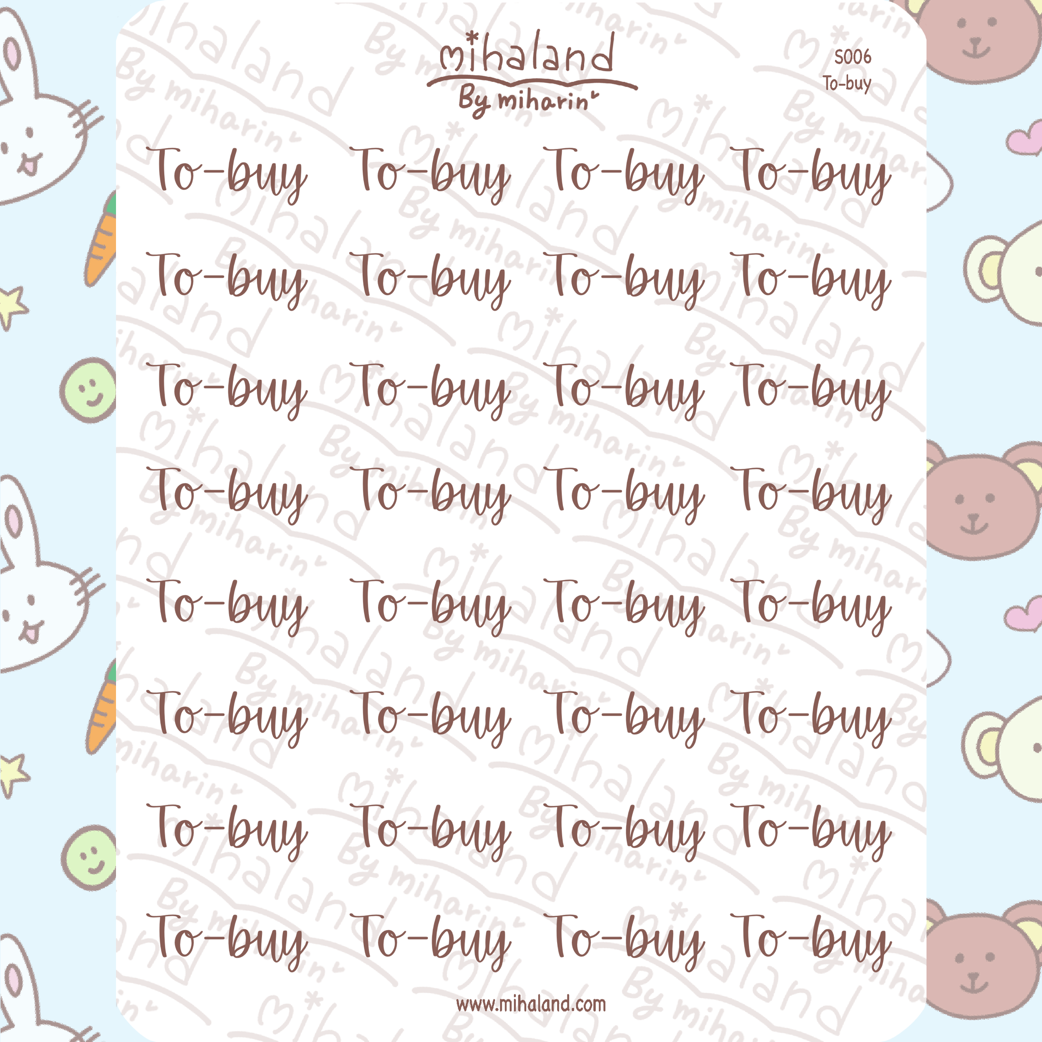 mihaland - To-buy Script Planner Stickers (S006)