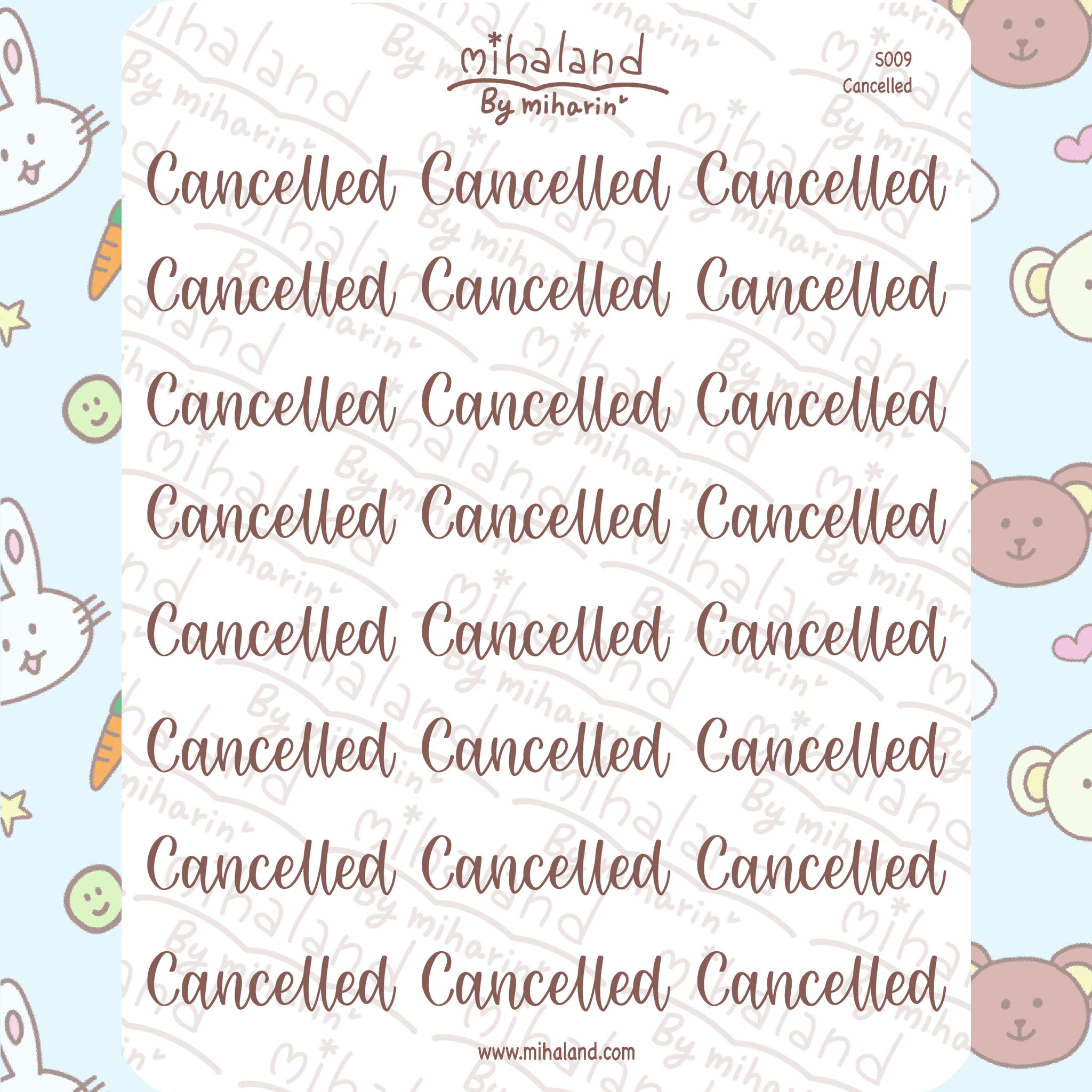 mihaland - Cancelled Script Planner Stickers (S009)