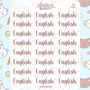 English Script Planner Stickers (S026)
