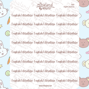 English Literature Script Planner Stickers (S040)