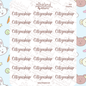 Citizenship Script Planner Stickers (S049)