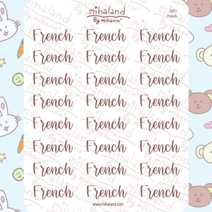 French Script Planner Stickers (S051)
