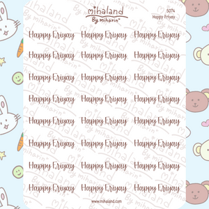 Happy Friyay Script Planner Stickers (S074)
