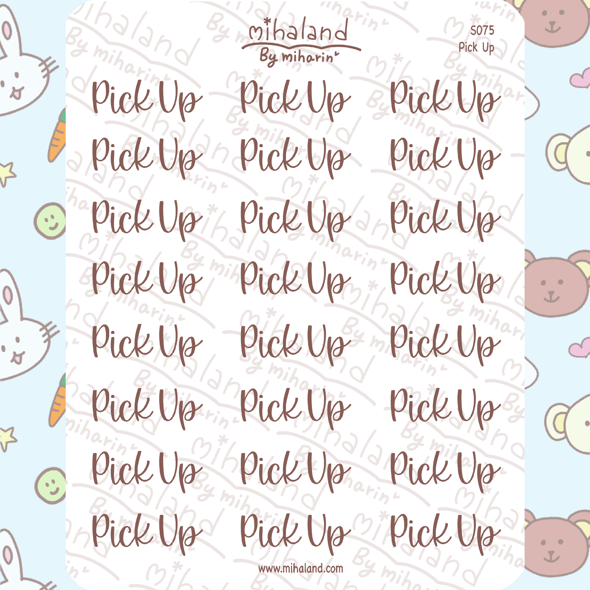Pick Up Script Planner Stickers (S075)