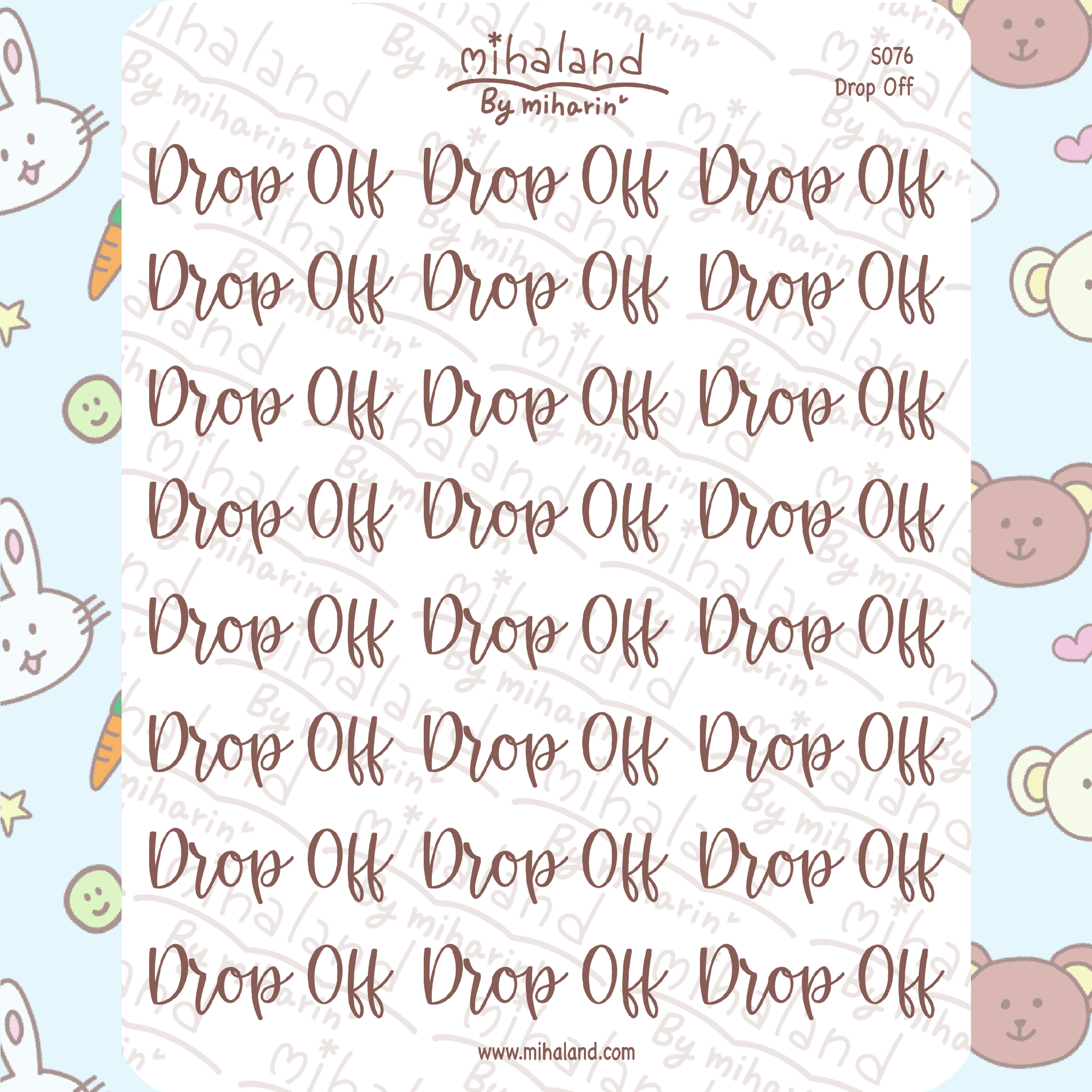 Drop Off Script Planner Stickers (S076)