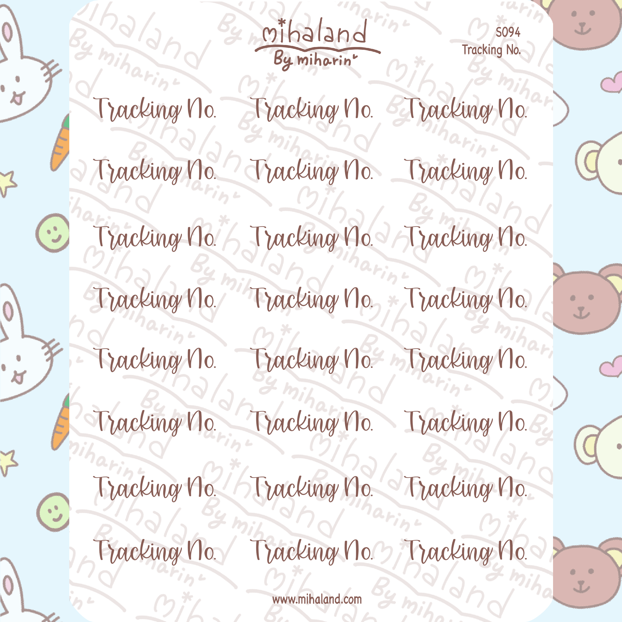 Tracking No. Script Planner Stickers (S094)