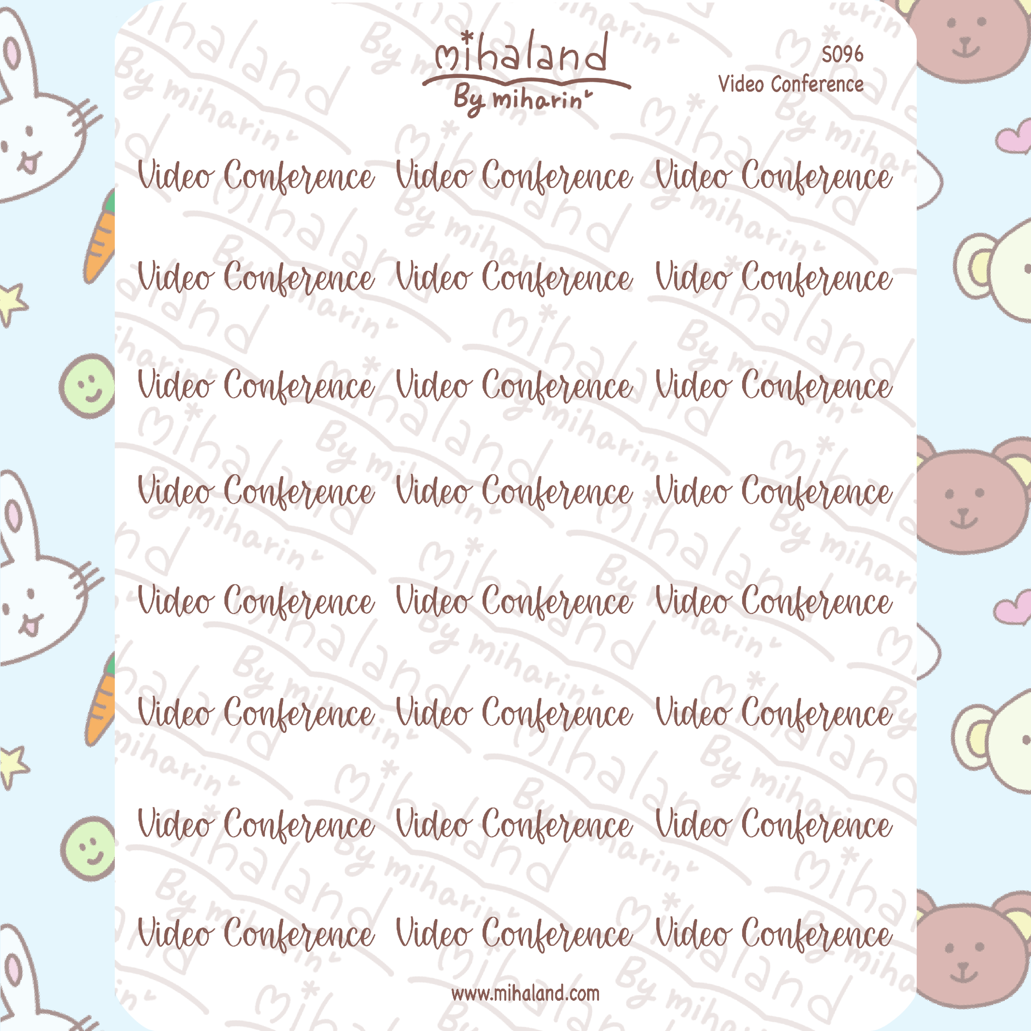 Video Conference Script Planner Stickers (S096)