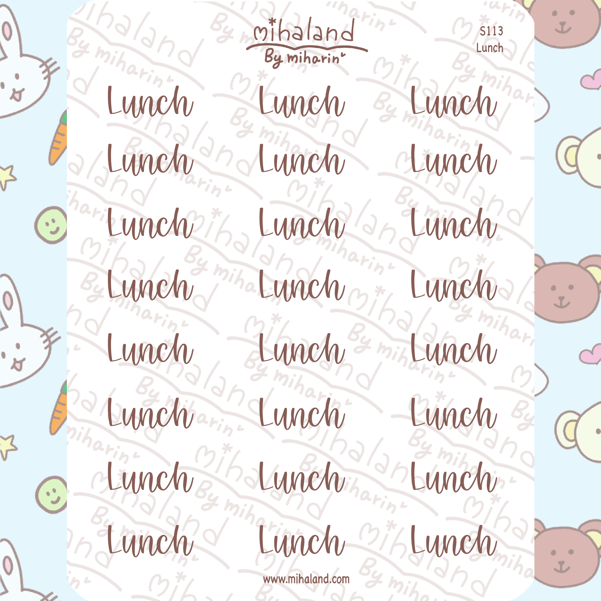 Lunch Script Planner Stickers (S113)