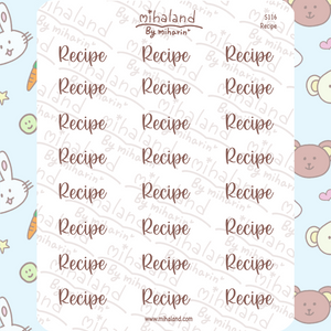 Recipe Script Planner Stickers (S116)