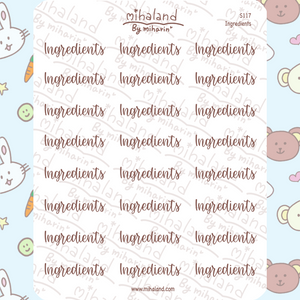 Ingredients Script Planner Stickers (S117)