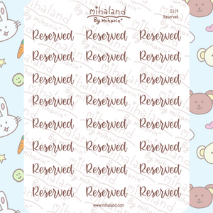 Reserved Script Planner Stickers (S119)