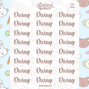 Diving Script Planner Stickers (S152)