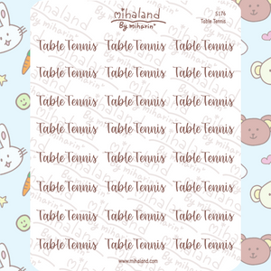 Table Tennis Script Planner Stickers (S176)