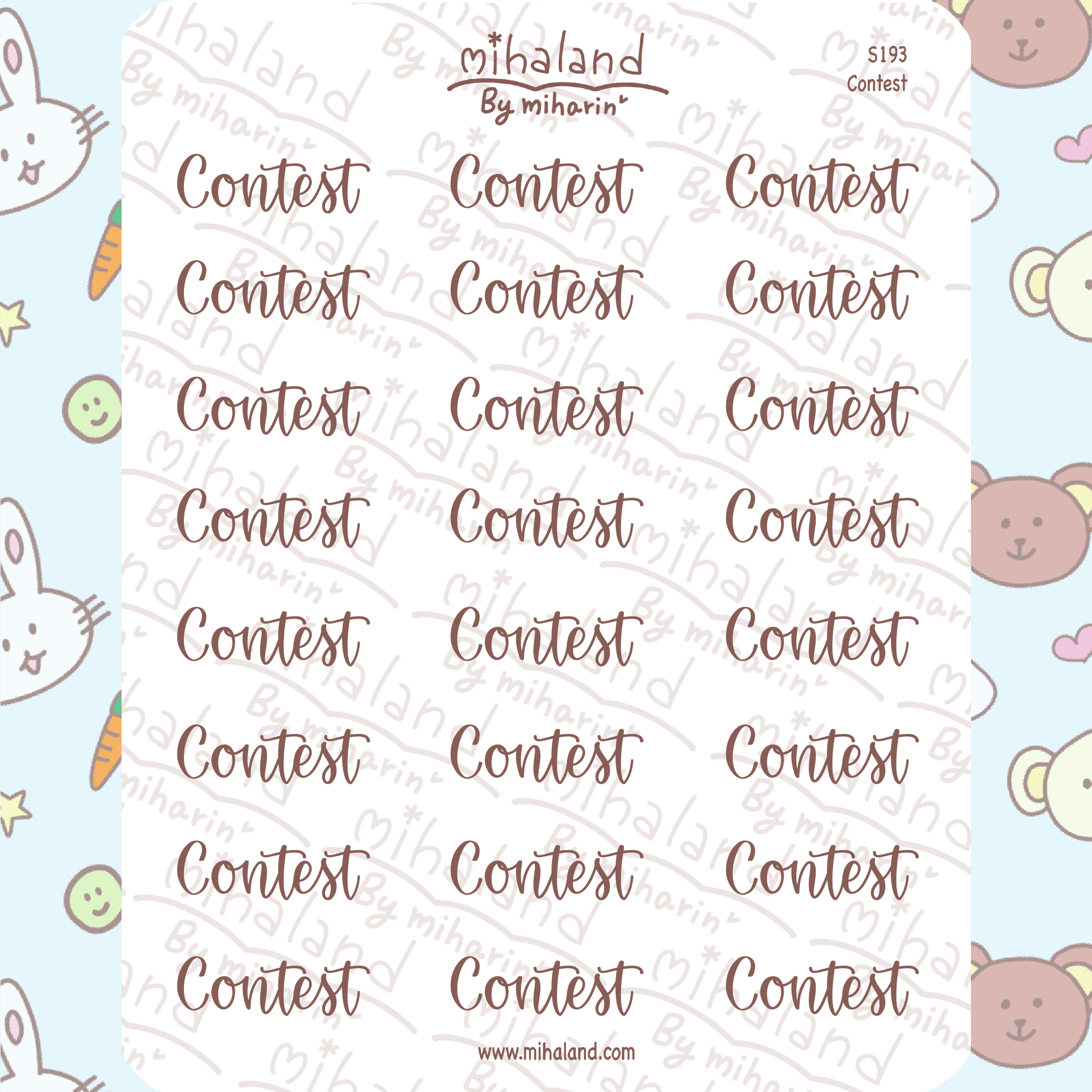 Contest Script Planner Stickers (S193)