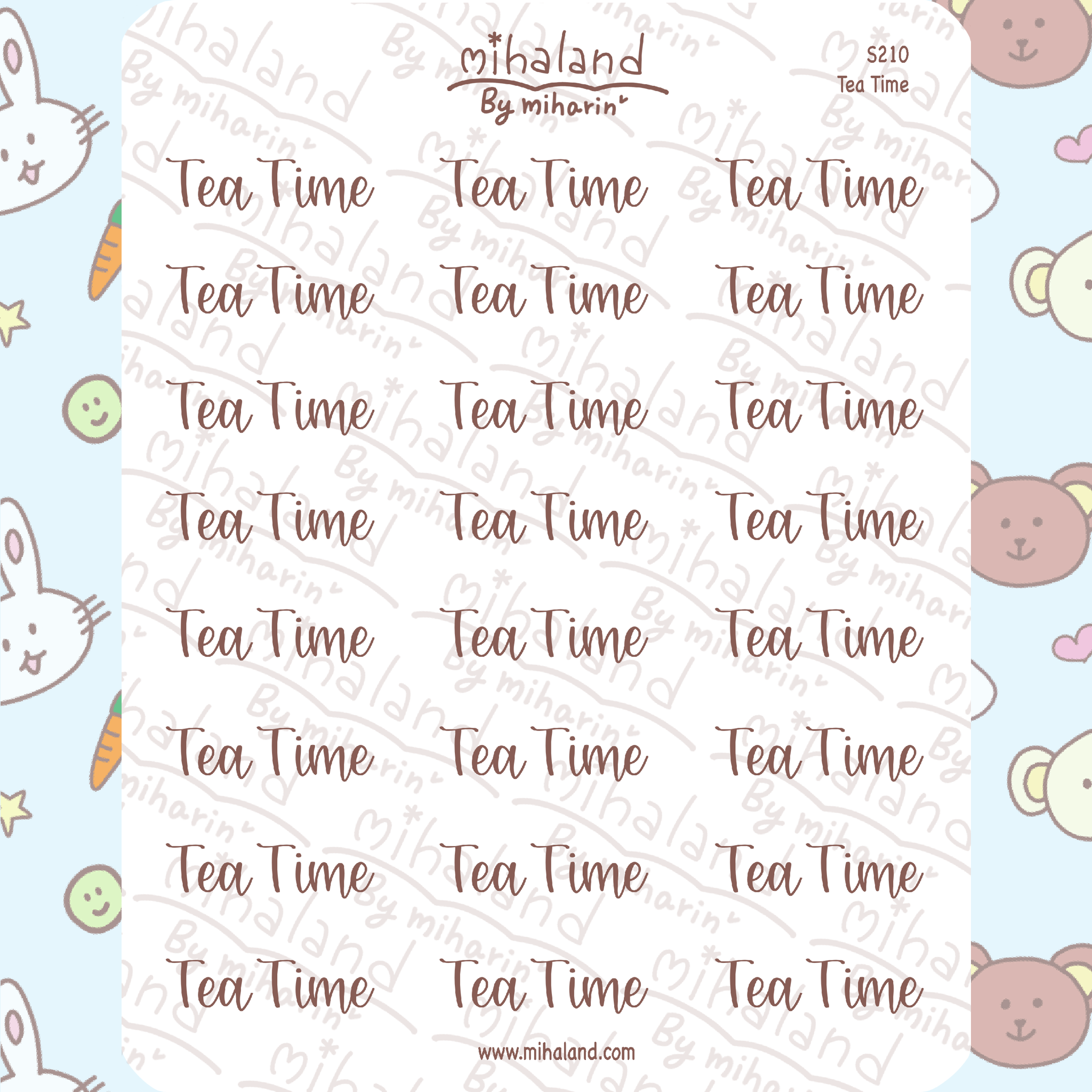 Tea Time Script Planner Stickers (S210)